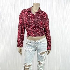 ZARA Animal Print Leopard Cropped Red Top S